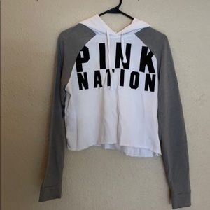 NWOT White Cropped Pullover Pink VS